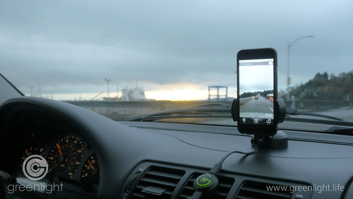 The Greenlight video dash cam is seen here, installed and ready to capture hd video as well as GPS and accelerometer data on any unusual driving incident.  Image Courtesy: Greenlight